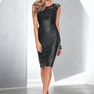 Faux Leather Dress With Lace Detail Size 14